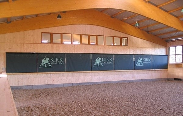 Horse arena mirrors with blinds