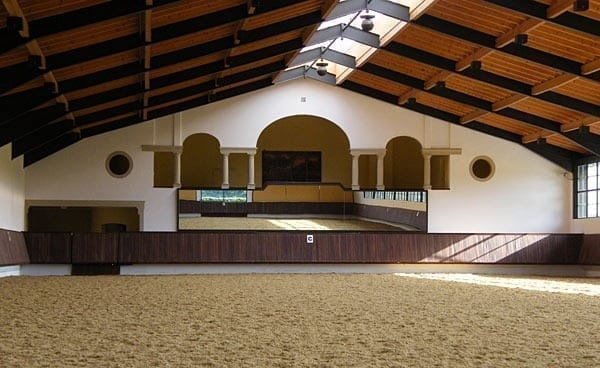 Indoor riding arena with mirrors