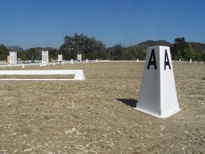 dressage arena with geotextile footing