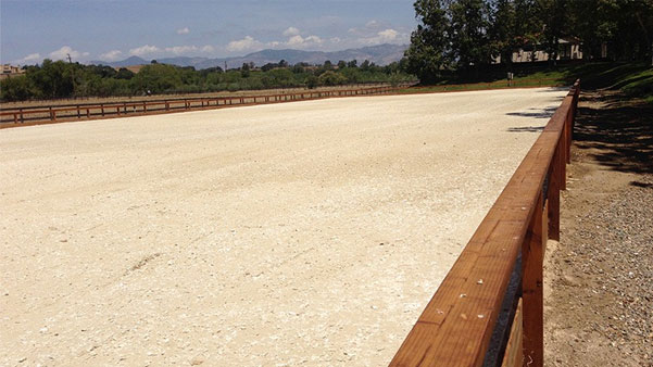 An outdoor riding ring complete with FSGeoTEX footing