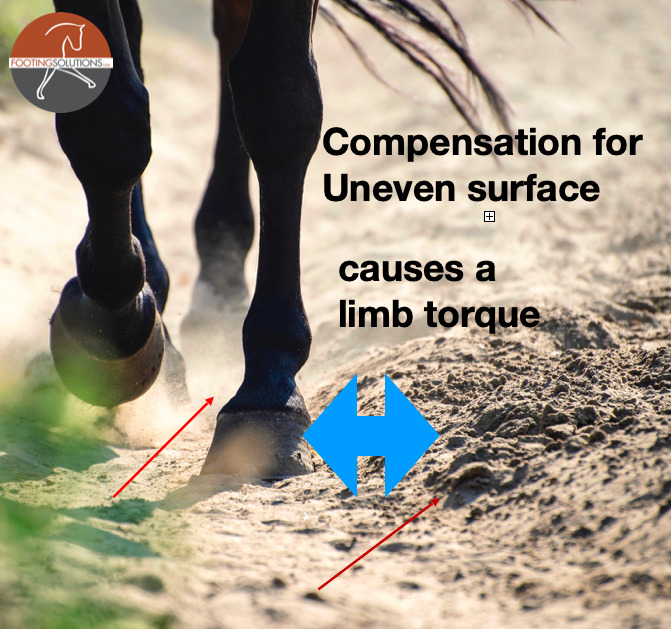 uneven arena footing causes lameness over time