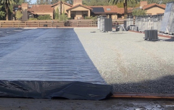 free draining arena base with landscape fabric