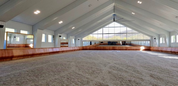 indoor arena with curved kickboards