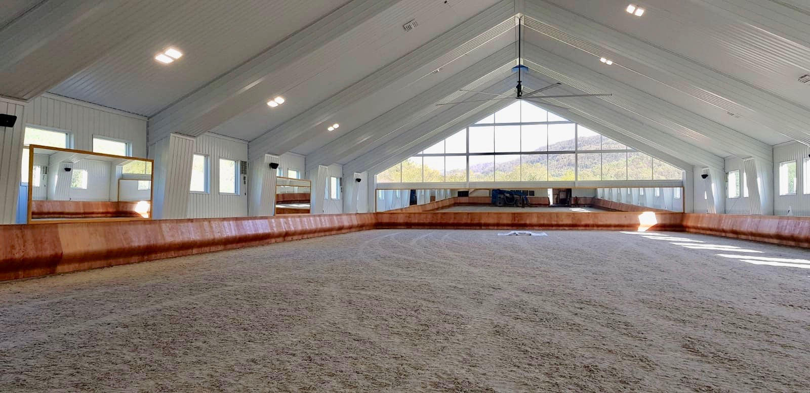 indoor arena with curved kickboards